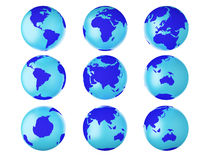 Collection of earth globes end. Royalty Free Stock Photo