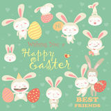 Collection of Easter bunny with colorful egg Stock Photo