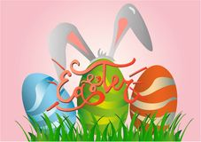 Collection of Easter bunny and egg and lettering vector illustration