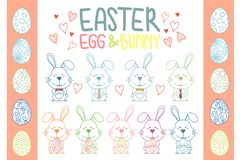 Collection of Easter bunny and egg vector royalty free illustration