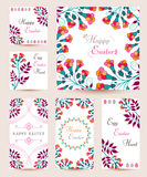 Collection Easter Cards. Collection Easter tag and cards. Floral spring templates with flowers and eggs. Easter design, greeting cards, posters, advertisement stock illustration