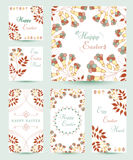 Collection Easter Cards. Collection Easter tag and cards. Floral spring templates with flowers and eggs. Easter design, greeting cards, posters, advertisement royalty free illustration