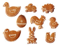 Collection of easter or christmas gingerbread Royalty Free Stock Images