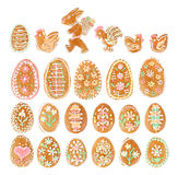 Collection of easter egg ginger bread on white Royalty Free Stock Photo