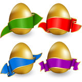 Collection easter egg with ribbon Royalty Free Stock Photos