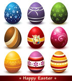 Collection of Easter Eggs. Collection of nine cute decorative eggs representing celebration of Easter Royalty Free Stock Photos