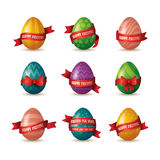 Collection of Easter eggs with ribbon Royalty Free Stock Image