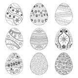Collection of Easter eggs. Vector illustration. Collection of Easter eggs. Black outline design. Vector illustration stock illustration