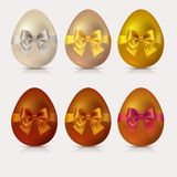 Collection of Easter golden eggs. With decorative ribbon and bow royalty free illustration