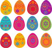 Collection of Easter painted eggs Stock Images