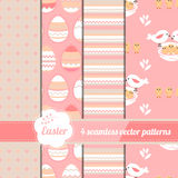 Collection of easter seamless patterns with stylized cute eggs and birds. Royalty Free Stock Images