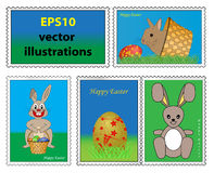 Collection of easter stamps Royalty Free Stock Photos