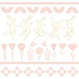 Collection of Easter white Bunny characters from different poses. Happy running and dancing bunnies. Folk flowers vector illustration