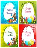 Collection of the Eastern eggs background Stock Photos