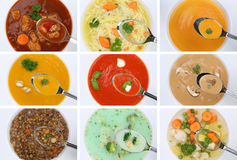 Collection of eating soups soup in cup tomato vegetable noodle o Stock Photo