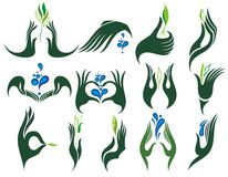 Collection of eco hands icons Royalty Free Stock Image