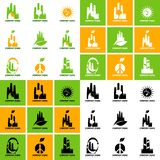 Collection of ecological logos on the topic of waste processing and clean production vector illustration