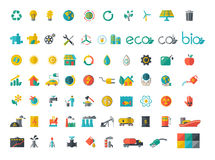 Collection of ecology flat icons Stock Image