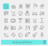 Collection of educational line icons. Royalty Free Stock Photos