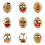 Collection of eggs with happy face ( no.3) Royalty Free Stock Photo