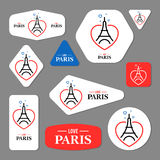 Collection of Eiffel Tower cards Royalty Free Stock Images