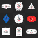 Collection of Eiffel Tower postage stamp Stock Photos