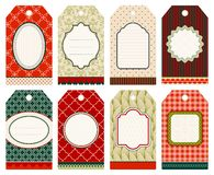 Set Of Eight Christmas Hangtags Pattern Beige Red Green vector illustration