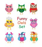 Funny cute different cartoon owls collection. vector illustration stock illustration