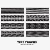 Collection of eight tire tracks marks. Illustration Royalty Free Stock Photography