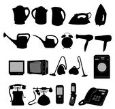 Collection of electric domestic objects Royalty Free Stock Photos