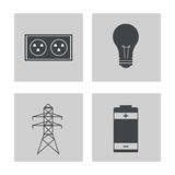 Collection electricity power energy icons. Vector illustration eps 10 Stock Photography