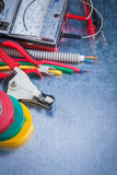 Collection of electricity tools top view image construction conc Royalty Free Stock Image