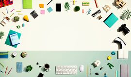 Collection of electronic gadgets and office supplies