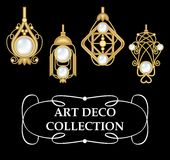 Collection of elegant gold earrings with pearls art deco. Symmetric classic design, jewel for festive occasions. Vector Stock Photos