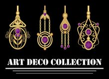 Collection of elegant gold earrings with purple amethyst gem in art deco. Symmetric classic design, jewel for festive occasions. Royalty Free Stock Photo