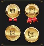Collection of Elegant golden premium Best seller labels vector illustration