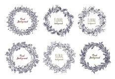 Collection of elegant hand drawn wreaths or circular garlands made of intertwined flowers, branches and leaves Royalty Free Stock Images
