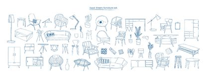 Collection of elegant modern furniture and home interior decorations of trendy Scandinavian or hygge style hand drawn. With blue contour lines on white royalty free illustration