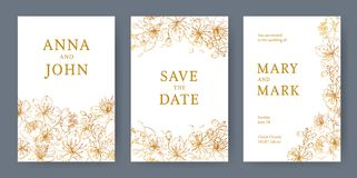 Collection of elegant templates for flyer, Save the Date card or wedding invitation with beautiful Japanese sakura. Flowers hand drawn with yellow lines on stock illustration