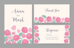 Collection of elegant templates for Save the Date card, wedding invitation or thank you note with hand drawn roses. Gorgeous blooming garden flowers, floral Royalty Free Stock Photos