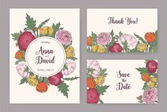 Collection of elegant wedding invitation, Save The Date card and Thank You note templates decorated with blooming pink. Orange and yellow ranunculus flowers Stock Images