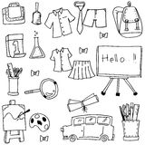 Collection element school doodles. Vector art illustration Royalty Free Stock Image