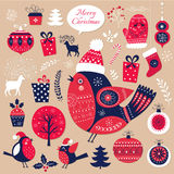 Collection of elements on Christmas theme Royalty Free Stock Photo