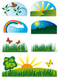 Collection of elements of nature stock illustration