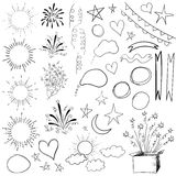 Collection of 47 elements. VECTOR black illustration isolated on white. Collection of 47 sketched retro elements. VECTOR black illustration isolated on white Stock Photography