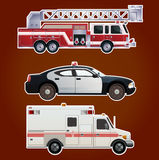 Collection of  emergency cars. Vector image of collection of  icons of emergency cars Stock Photography
