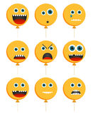 Collection of 9 emoticons in baloon shape Royalty Free Stock Photography