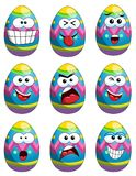 Collection emoticons mascot painted easter egg isolated Stock Image