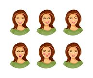 Collection of emotions 2. Set of young woman with different facial expressions and emotions. Vector illustration, part 2 Royalty Free Stock Images