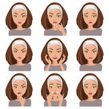 Collection of emotions. Vector Illustration. Young woman with different emotions on her face Stock Image